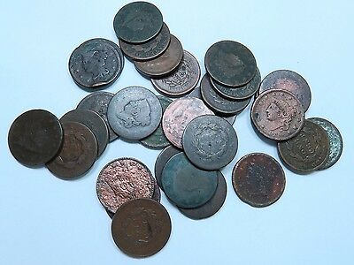 (30) Mixed 1800's Large Cent  // 30 Coins // (LCL43)