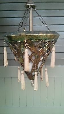 Boho Mid Century Vtg Green & Gold Metallic Hanging Light  w/ Chain Electrical