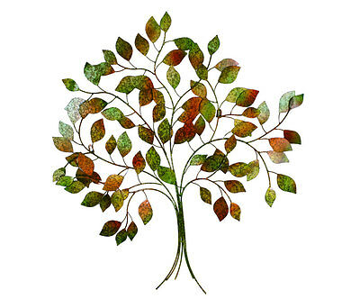 Autumn Tree Of Life Metal Wall Art 90cm |  Coloured Leaves Hanging Sculpture