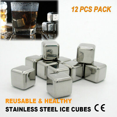 12 X Whisky Stainless Steel Portable Ice Cube Tray Chiller Rocks  Juice Stones
