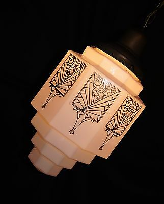 Vtg Art Deco Milk Slip Glass Shade Ceiling Light Fixture Skyscraper Pendant 1930