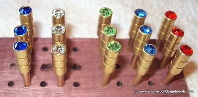 "15 Jewel Crystal Metal Cribbage Pegs for 1/8"" holes - FREE SHIPPING !"