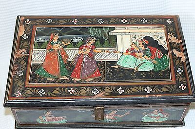 "VINTAGE OLD RARE HAND PAINTED WOOD BOX from India ? 15"" x 9.5"" x 5"""
