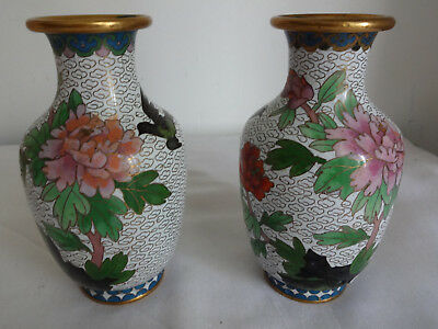 2 Chinese  Old Collectible Handmade Brass Cloisonne Enamel Famille Rose Vase