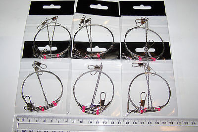 6x Stainless Steel Wire Trace/Rig 2 Arms bottom fishing,  Flathead, Snapper, etc