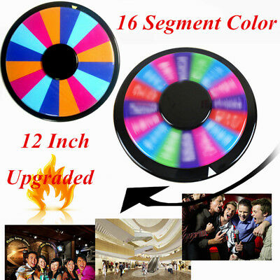 "12"" Tabletop Spinning Prize Wheel 16 Slot Dry Erase Fortune Spin Game DIY"
