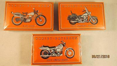 3 Harley Davidson Tin Wood Matches 3 Different Bikes New Sealed