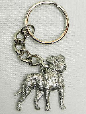 American Bulldog Keychain Keyring Dog Harris Pewter Made in USA Key Chain Ring
