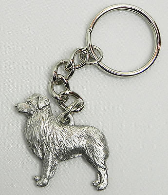 Australian Shepherd Dog Keychain Keyring Harris Pewter Made USA Key Chain Ring