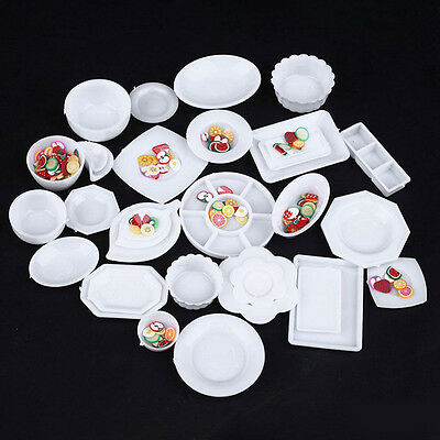 33Pcs Dollhouse Miniature Tableware Plastic Plate Dishes Set Mini Food Bowl Mat