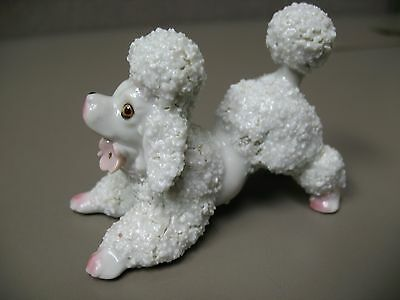 Vintage Spaghetti Poodle w/ Pink Flowers Under Chin Playful Pose Made in Japan