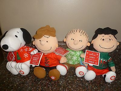 Peanuts Talking Plush Christmas Sweater Charlie Brown Snoopy Linus Lucy Hallmark