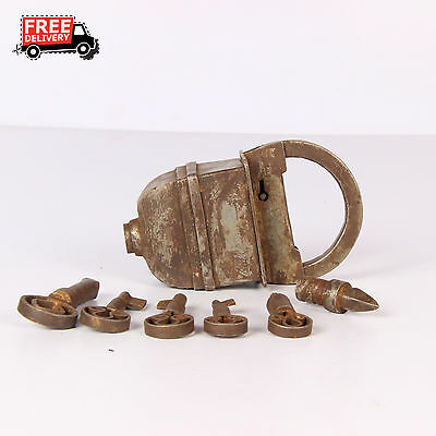 Antique Vintage Look Iron Tricky Pad Lock With 5 Keys Lock Rich Patina 1324 A
