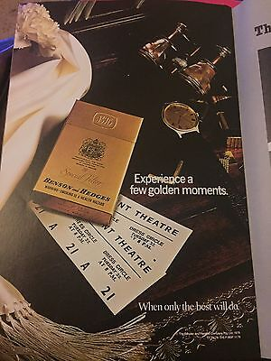 Vintage 1980s BENSON AND HEDGES CIGARETTES Advertisement Theatre Musical