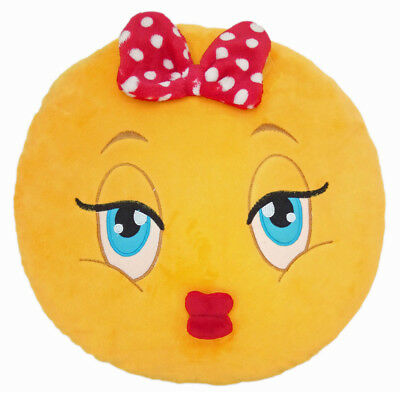 Girl with Bow Emoticon Emoji Pillow Emoticon Cushion Soft Smiley 32cm NEW