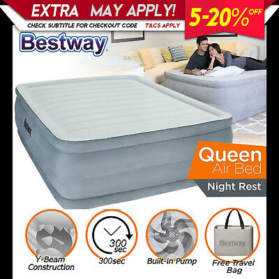 NEW Bestway Queen Size Air Bed Inflatable Mattress with Built in Electric Pump