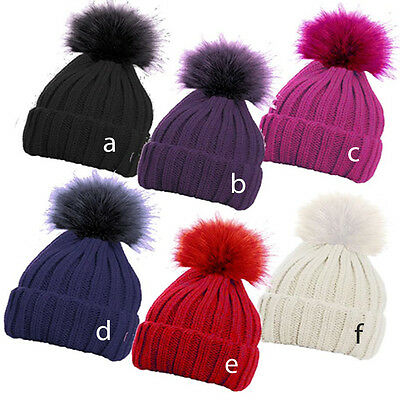 Children's Ribbed Faux Fur Pom Pom Beanie / Skiing Hat / Winter Bobble Hat - New