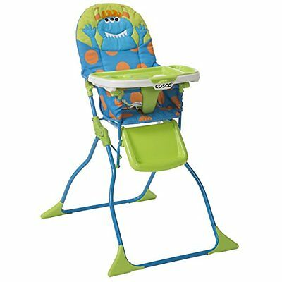 Cosco Simple Fold Deluxe HIGH CHAIR, 3-Point Harness BABY HIGHCHAIR, Monster Syd