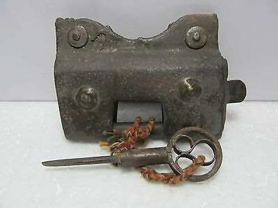 India Vintage Old Original Iron Unique Shape Strip System Lock Key working