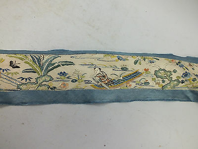 "VINTAGE CHINESE SILK ""EDGE"" FINELY EMBROIDERED WITH FIGURES & FOLIAGE 19thC"
