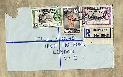 BENIN CITY Nigeria - Africa 1959 REGISTERED LETTER Envelope STAMPS To London