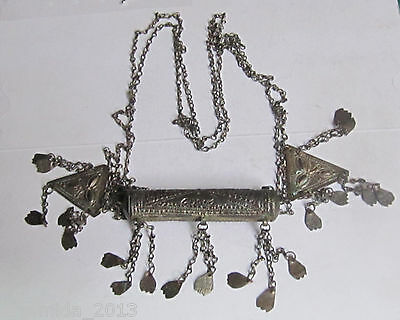 VERY RARE ANTIQUE OTTOMAN ISLAMIC SILVER Aloy Necklace Amulet