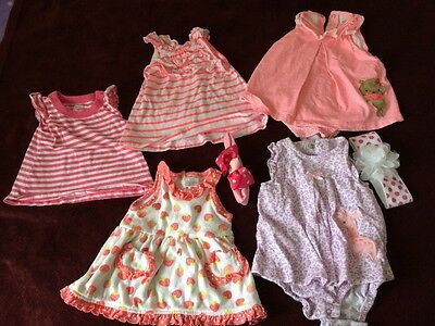 7 Pieces Baby Girl Newborn Clothing Lot Fall Winter Assorted Brands