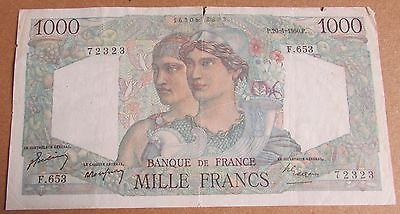 1950 + France French 1000 Franc Banknote