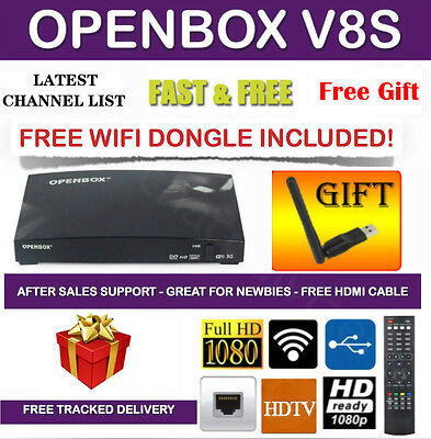 Genuine Openbox V8S HD Satellite TV Receiver Box + WIFI WITH 12 Months Gift
