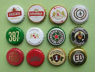 lot 12 beer caps from different countries