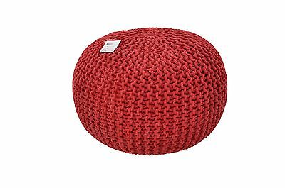 40/50/60cm Red Large Moroccan Knitted Pouffe Footstool Handmade Foot Stool Knit