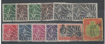 Nyasaland King George Vi Used Stamps. To 5/- Value