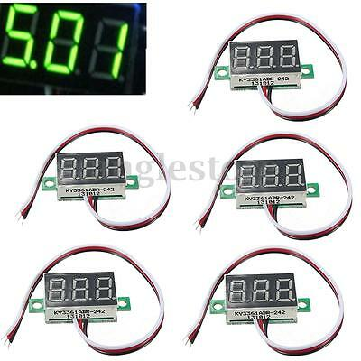 5Pcs Mini Green DC 0-32V LED Panel Voltmeter 3-Digital Display Voltage Meter US