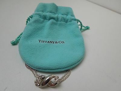 **Tiffany & Co. Sterling Silver Infinity Figure 8 Pendant Necklace Double Chain