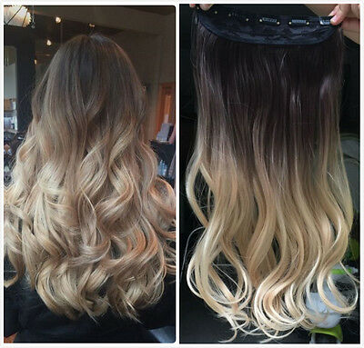 Brown Blonde Half Full Head Ombre Straight Curly Wavy Clip in Hair Extensions