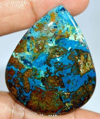 77 Cts 100% NATURAL BLUE AZURITE PEAR CABOCHON UNHEATED AFRICAN TOP GEMSTONE