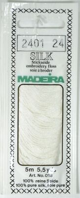 Madeira 100% PURE SILK 4-Strand Hand Embroidery Thread Colour 2401 WHITE