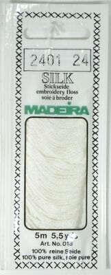 Madeira 100% PURE SILK Colour 2401 WHITE, 4-Strand Hand Embroidery Thread