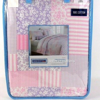 HAYLEY Serendipity 3PC Full Queen QUILT SET Kids floral gingham Pink Purple NEW