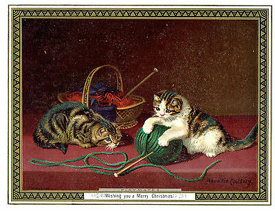 Horatio Couldery Artist Victorian Christmas Greeting Card Cats Playing With Wool