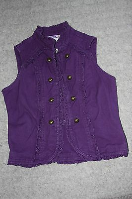 Dark purple sleeveless 100% heavy cotton military style jacket - age 8-9 years
