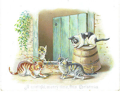 Victorian Christmas Greeting Card Four Pretty Cats Playing
