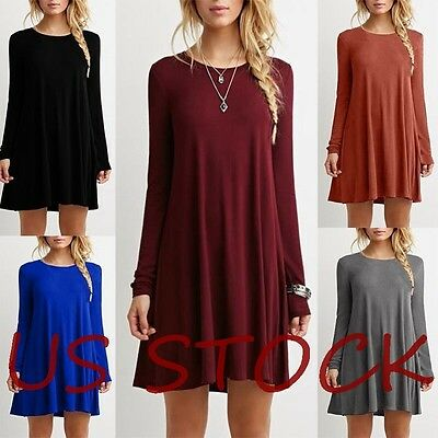 US Fashion Women Long Sleeve Party Evening Cocktail Party Short Mini Dress