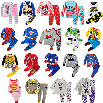 Baby Kids Boys Girls 2pcs Cartoon Sleepwear Nightwear Pj's Pyjamas Outfits Set
