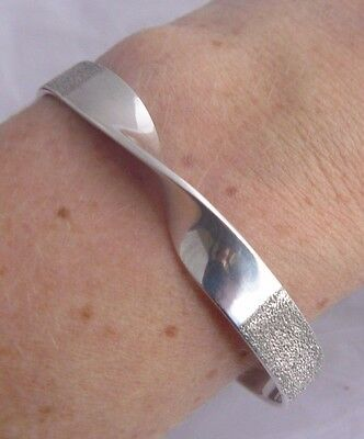 Modernist Sterling Silver Shimmery Twisted Design Cuff Bangle Hallmarked Opt