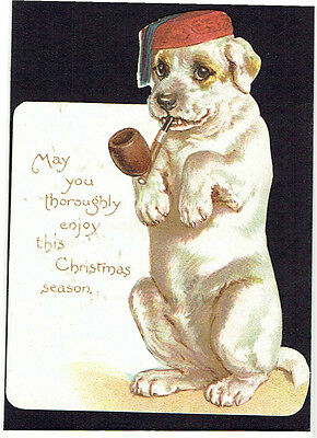 Ernest Nister Victorian Christmas Greeting Card Dog Smoking Pipe In Smoking Hat