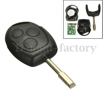 3 Button 433 Remote Entry Key Fob For Ford Mondeo Fiesta Focus Ka Transit Black