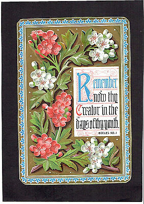 Marcus Ward Victorian Christmas Card Flowers And Religious Text
