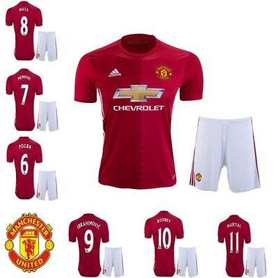 Manchester Utd Home and Away Child Youth Kids Child Football Shirt Kit 2016/17