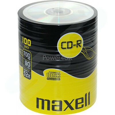 Maxell CD-R 52x 700MB Blank CDs Media Disks 100 Shrink Wrap Pack